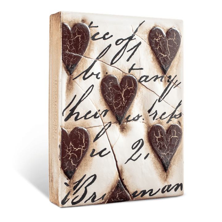 T01 - Red Hearts with Script - Memory Block Sid Dickens