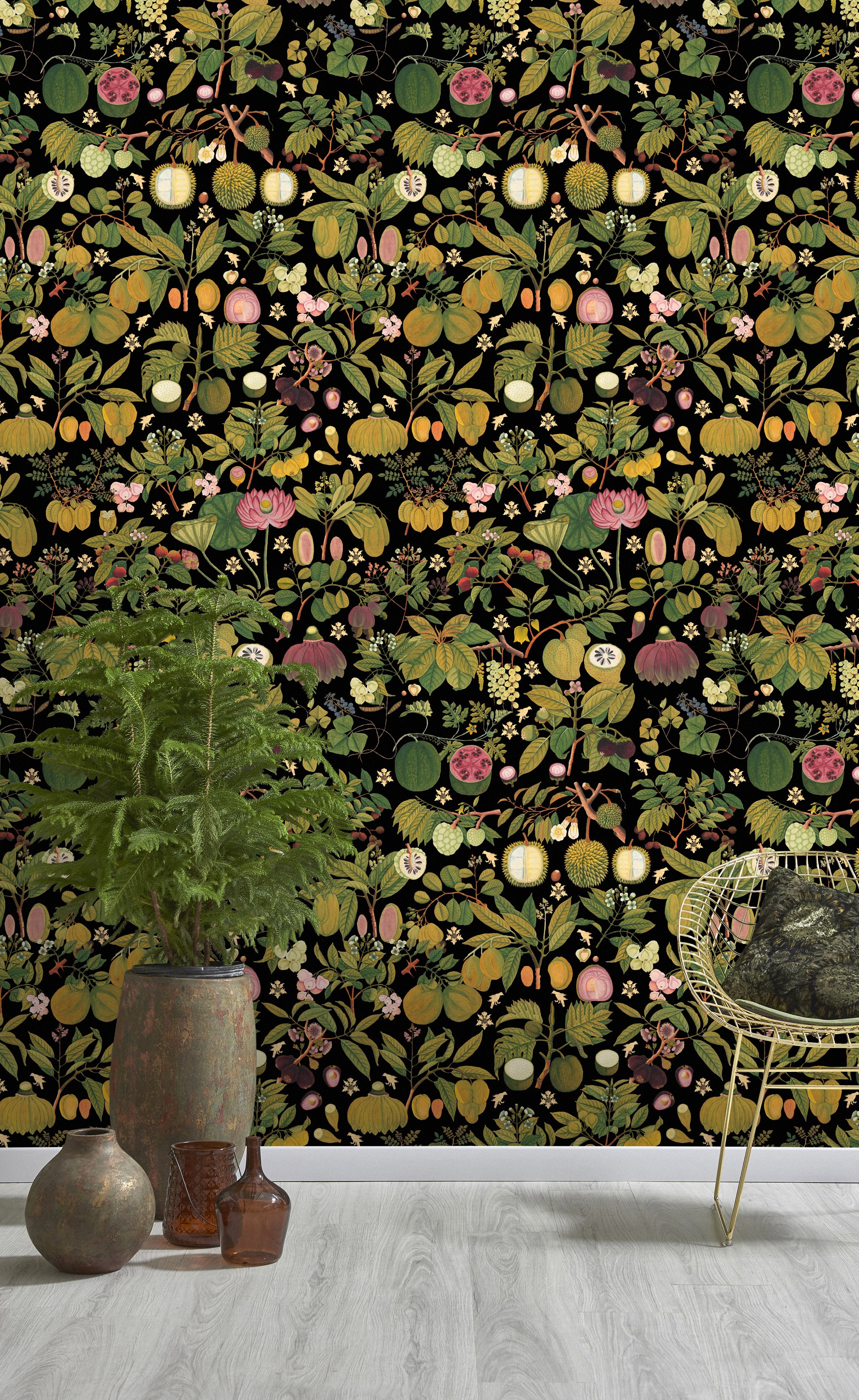 Tapete ASIAN FRUITS AND FLOWERS Anthracite